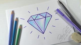 """Como desenhar DIAMANTE com a Letra """"A"""" - MUITO FÁCIL"""