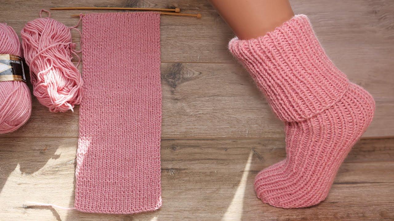 Носки для новичков на двух спицах 🧦 Knitting easy socks on two needles (tutorial for BEGINNER)