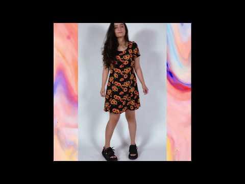 ALÉXIA vestido retrô - girassóis