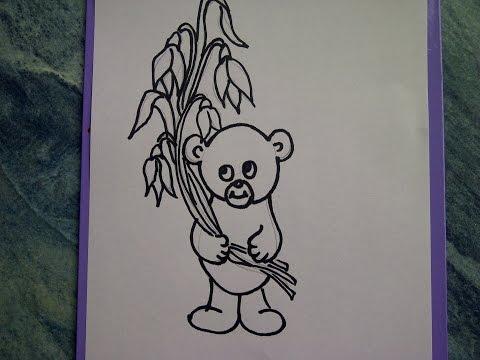 Zeichnen lernen für Anfänger.Teddybär mit Blumen (Schneeglöckchen)  How to draw Teddy bear