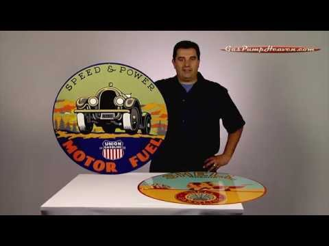 Gas Pump Heaven 30 inch Reproduction Signs - YouTube