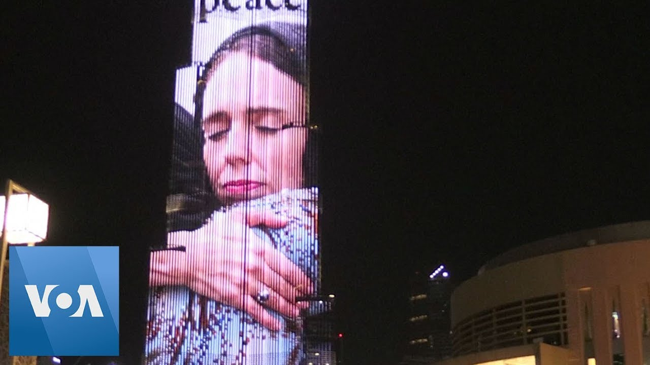 Image of New Zealand's PM Ardern projected onto Dubai ...