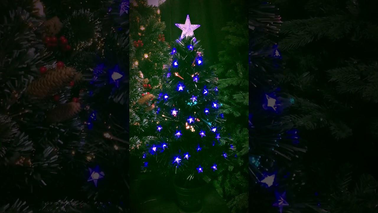 Christmas Tree World   3ft Black Blue Star Fibre Optic Tree
