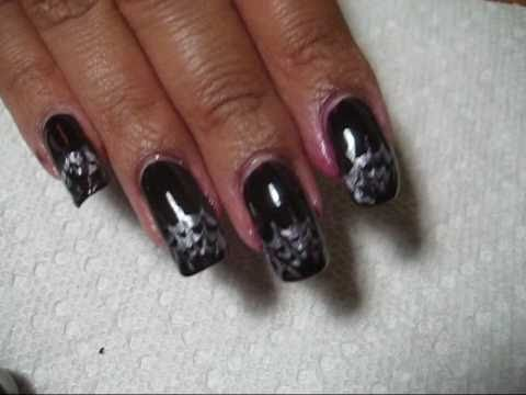 Halloween Spider Web French Tip Drag Marble Nail Art ...