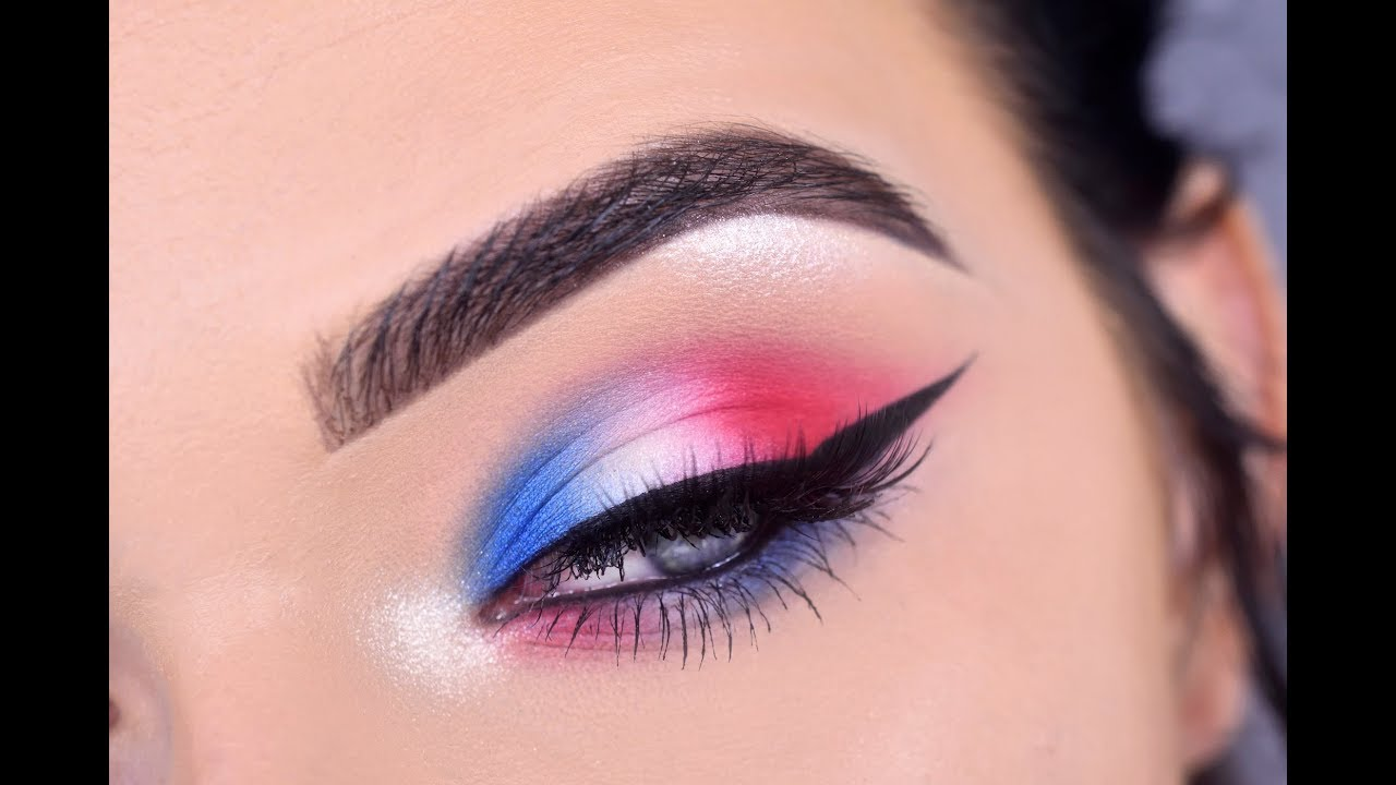 Fourth Of July Eye Makeup Tutorial Red White Blue Youtube