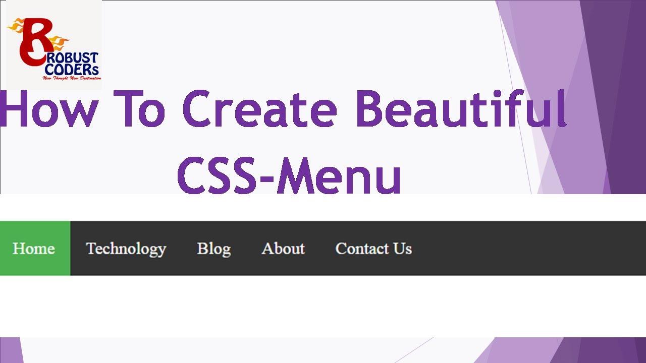 How To Create Menu in html CSS | html css menu | Create ...