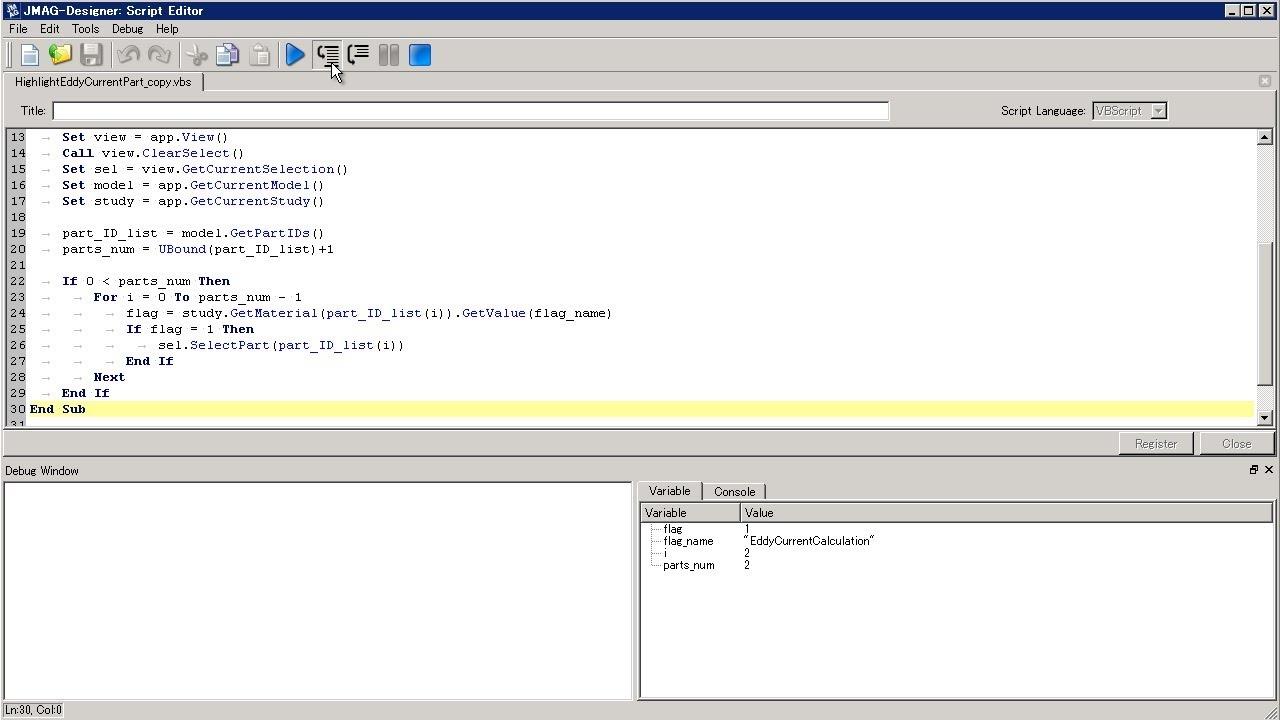JMAG-Designer:Script Debugging Function