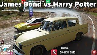 Forza Horizon 4: MOVIE CAR DRIFTING! James Bond vs Harry Potter!?