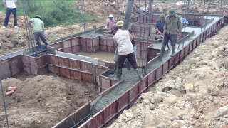 Amazing Construction Foundation Using Ready Mixed Concrete, Pump Truck Working Step By Step