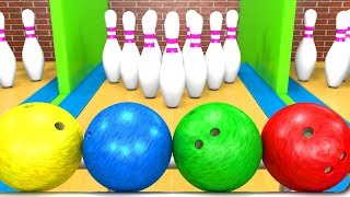 Learn Colors with Bowling 3D Game | Coloring Balls for Babies and Kids