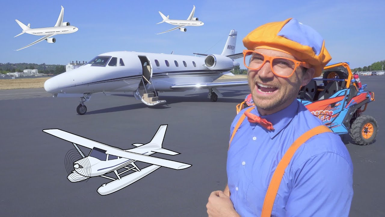 3722a35e Blippi Flies in a Private Jet | Airplanes for Kids with The Airplane Song