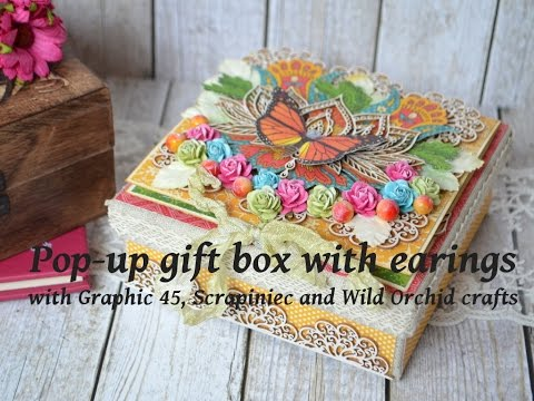 Bohemian Graphic 45 pop up gift box with earings tutorial