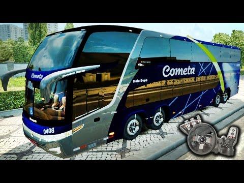 Euro Truck Simulator 2 - Viação Cometa - Delícia! - Marcopolo G7 1800 DD 8x2 - Com Logitech G27