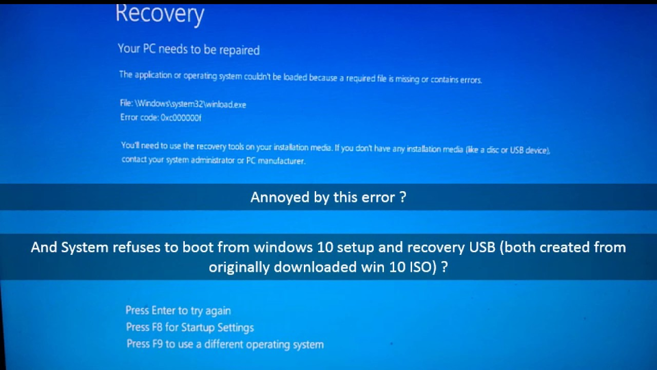 [FIX] windows 10 winload exe startup error 2017