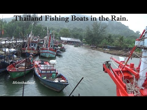 Thailand Fishing Boats in the rain, Chanthaburi Thailand.