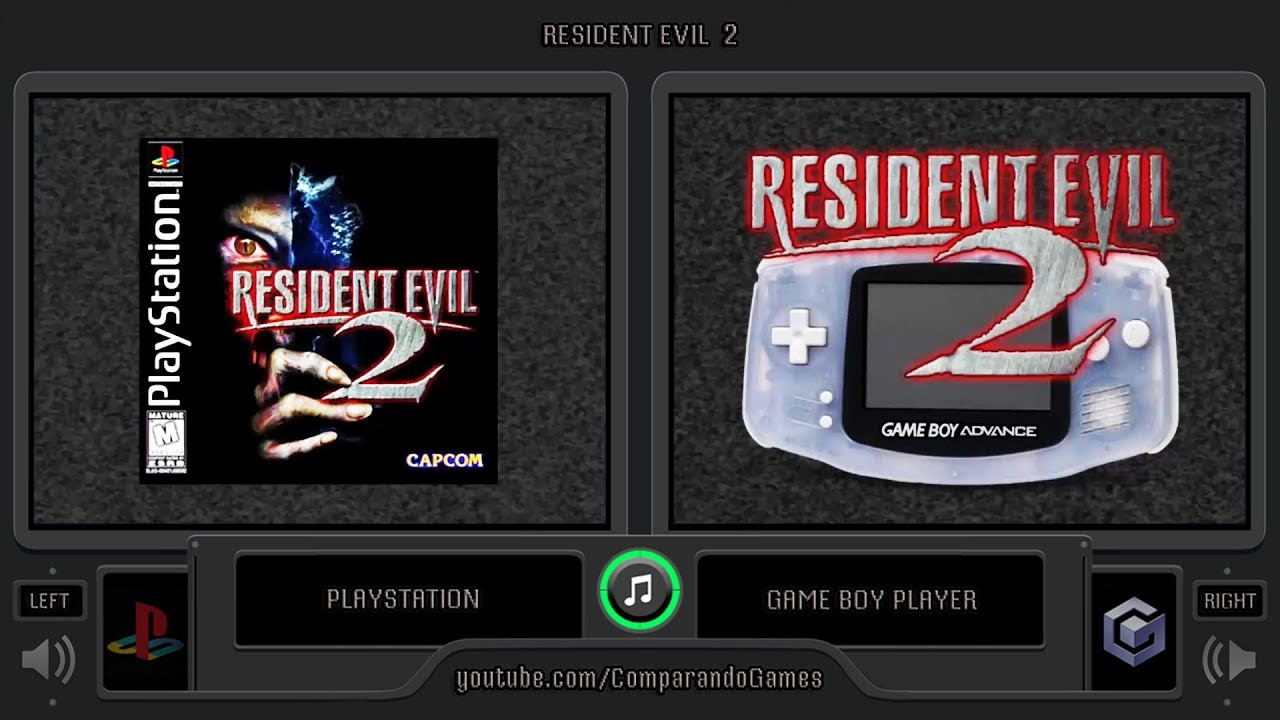 Resident Evil 2 Ps1 Vs Gba Side By Side Comparison Game Boy Player Youtube