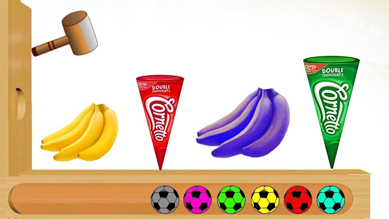 Kids With Ice Cream And Fruits Banana