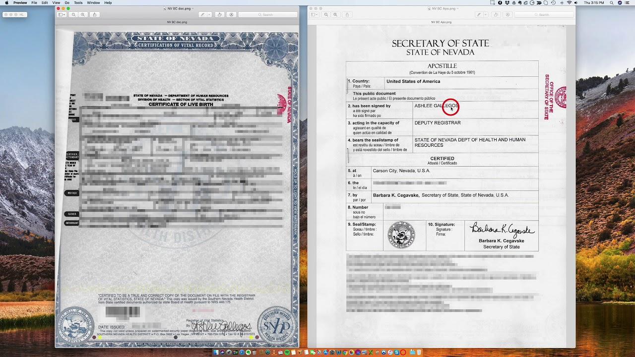 birth certificate nevada apostille