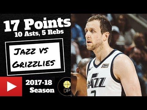 Joe Ingles vs Grizzlies 3/31/18   17 Pts, 10 Asts, 5 Rebs