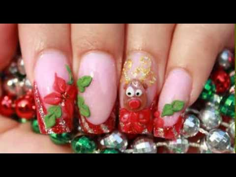 christmas acrylic nails with red