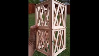 Popsicle Stick Tower - HELD 1475 POUNDS!!