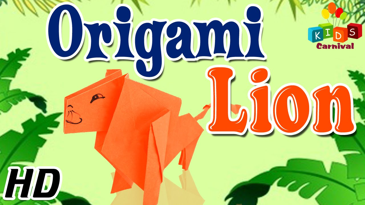Easy Origami Lion - Instructions in English (BR) - REMAKE - YouTube | 720x1280