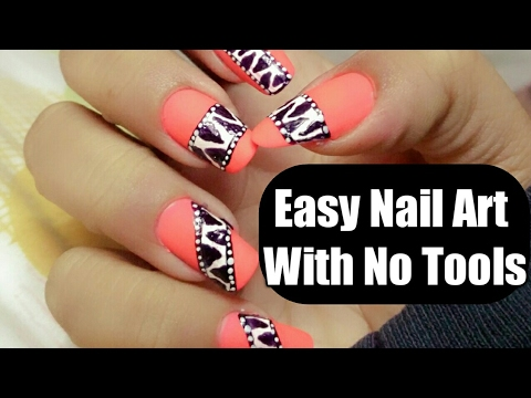 Super Easy Nail Art For Beginners With No Tools Nail Art At Home Easy Nail Art Nail Art