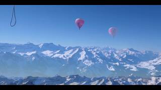 The spectacular Swiss Alps from a hot air balloon.