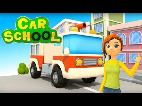 Car school  - Come si diventa un bravo camion dei pompieri? | Cartoni animati per bambini