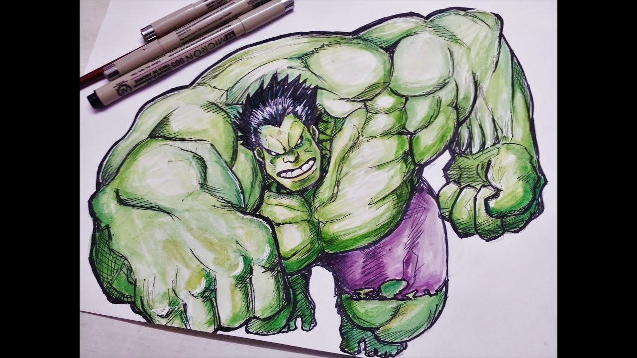 hulk colouring drawing  maltandmacabre