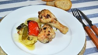 Baked Chicken Drumsticks with Potatoes & Peppers - Easy Oven-Roasted Chicken Recipe