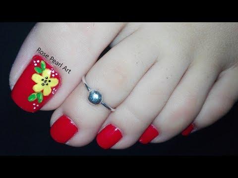 Yellow Flower on Red Pedicure Nail Art Tutorial- Summer Nails (Toe Nail Art) | Rose Pearl thumbnail