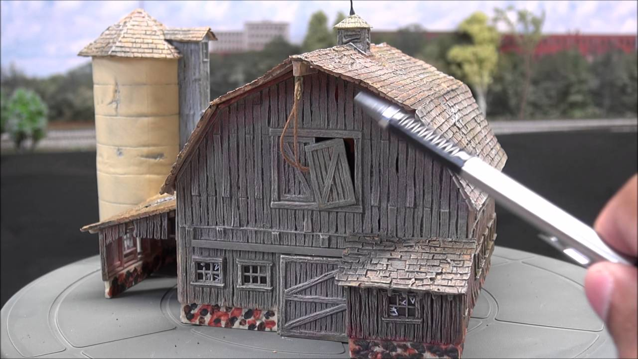 sparky107107 woodland scenics old weathered barn review youtube
