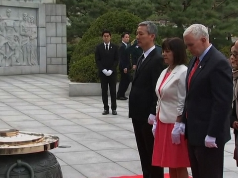 Thumbnail: Raw: VP Mike Pence Lays Wreath at Seoul Cemetery