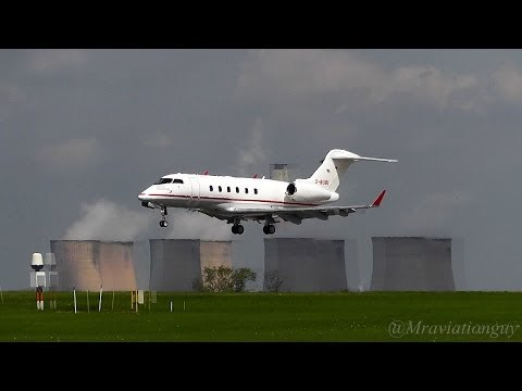 Private Jet Bombardier Challenger 300 D-BUBI Land at East Midlands Airport (EMA/EGNX)