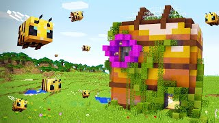 Making Minecraft Bees a MEGA BEE HIVE in Minecraft 1.15