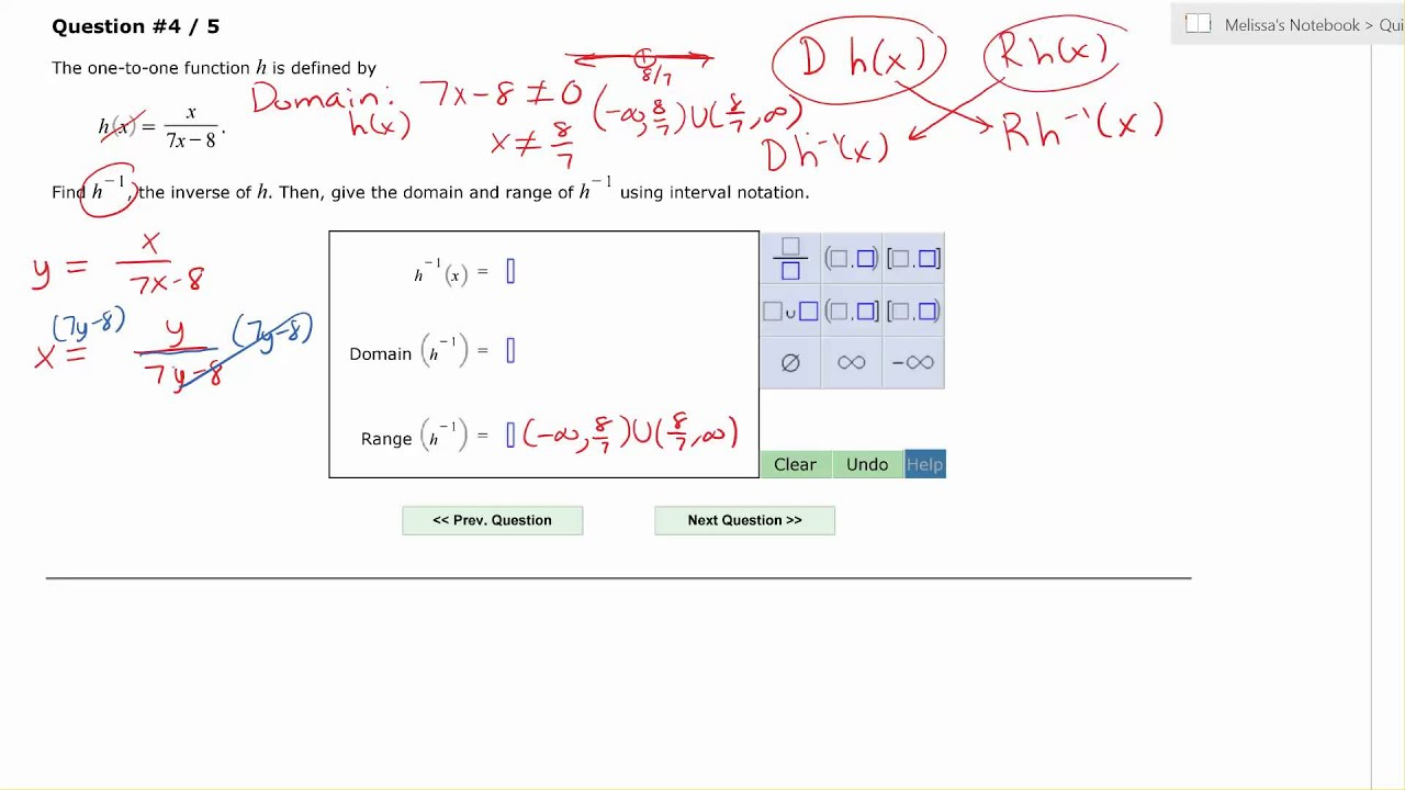 Aleks: Find An Inverse Function And Find The Domain And Range