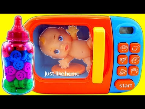 microwave-kitchen-applaince&-baby-doll-diy-how-to-make-jelly-pudding-mask-hulk-spiderman-learn-color