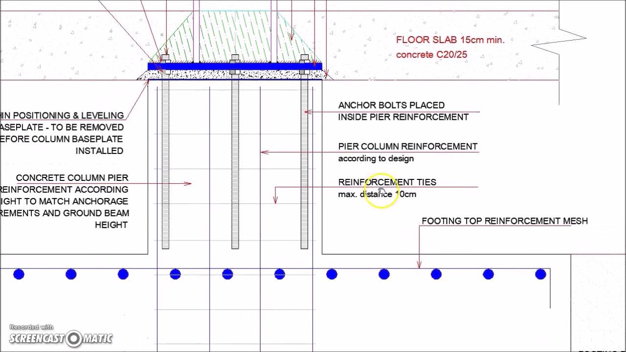 Steel Column Footing Foundation Detail Youtube