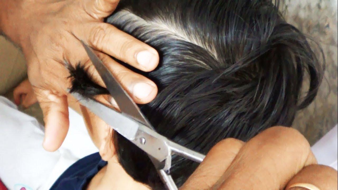 Boys medium hair cut by fingers & Scissors