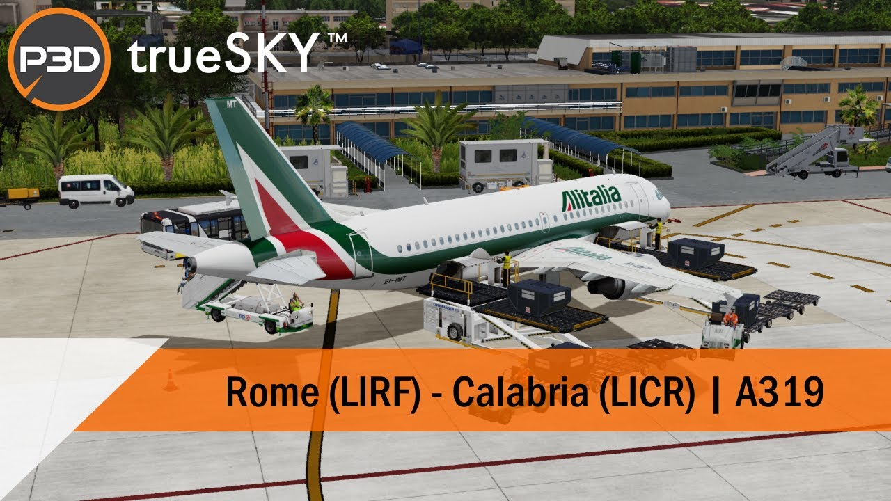 [P3Dv5] Full Flight - Alitalia A319 - Rome to Reggio Calabria (LIRF-LICR)