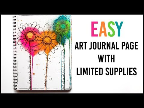 Dylusions Art Journal Page with Limited Supplies for Beginners - Mixed Media Art Journal With Me