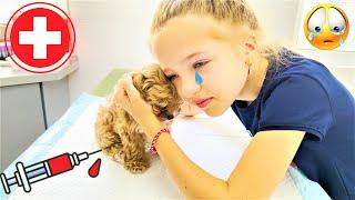 Щенок КЛЕВЕР в БОЛЬНИЦЕ ! Что СЛУЧИЛОСЬ  Валенсия ПЛАЧЕТ ! ПРИВИВКА для Собаки Видео Валенсия Лаки🍀
