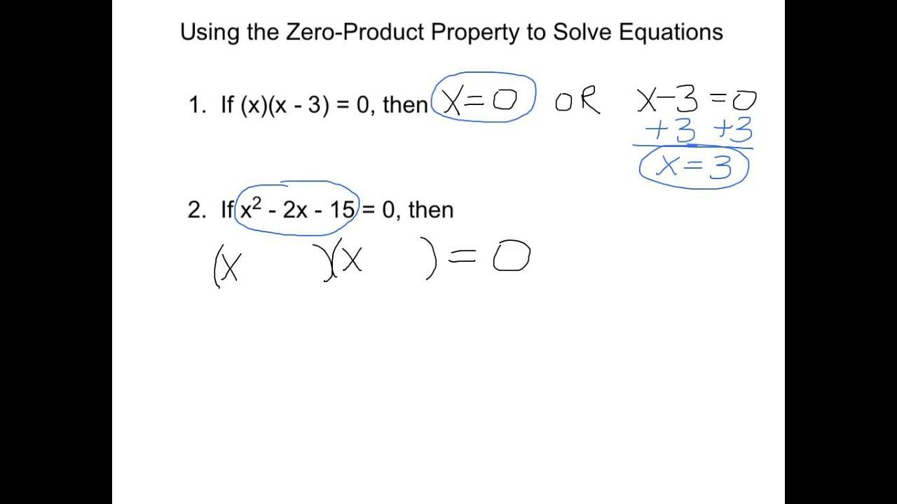 worksheet Zero Product Property Worksheet zero product property day 2 youtube 2
