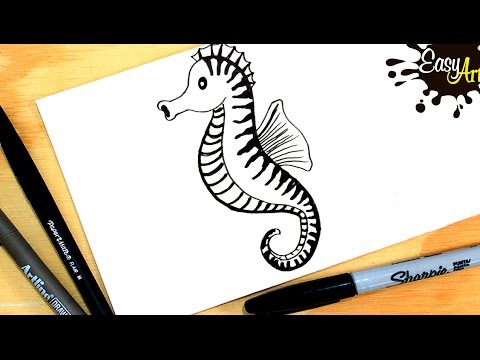 Como dibujar un caballito de mar| How to draw a sea horse| Easy art ...