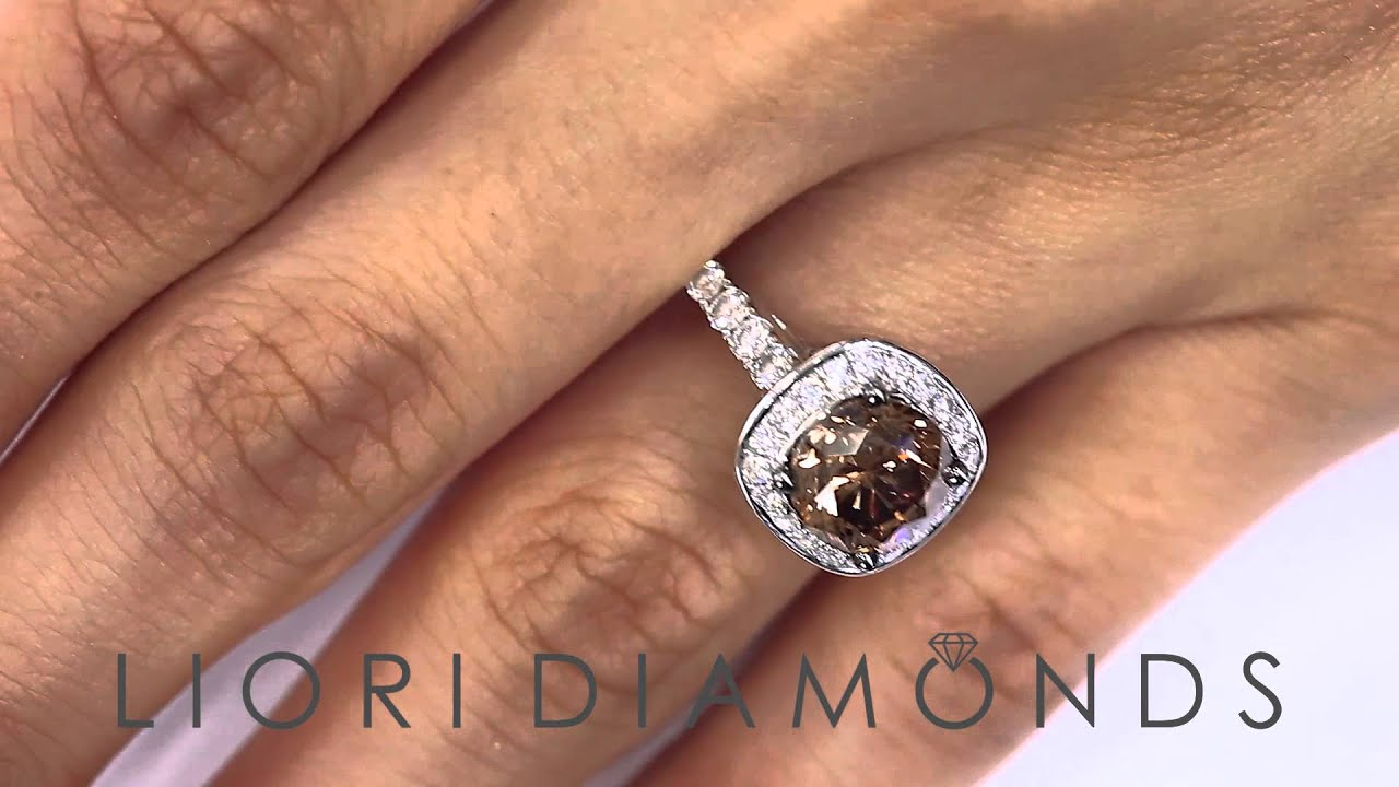 Fd572  410 Carat Natural Fancy Cognac Brown Diamond Engagement Ring 18k  White Gold