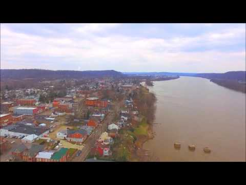 Gallipolis Ohio City Park, Ohio River, Aerial DJI Phantom 3