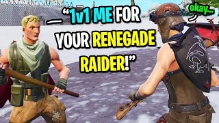 I let this TOXIC kid 1v1 me for my RENEGADE RAIDER skin on fortnite.... (HE APOLOGIZE)