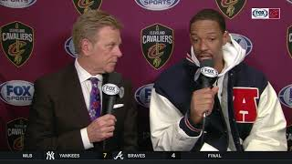 09c37b52705b9 Channing Frye joins Fred McLeod after the Cavaliers  126-119 win over the  Pistons ...
