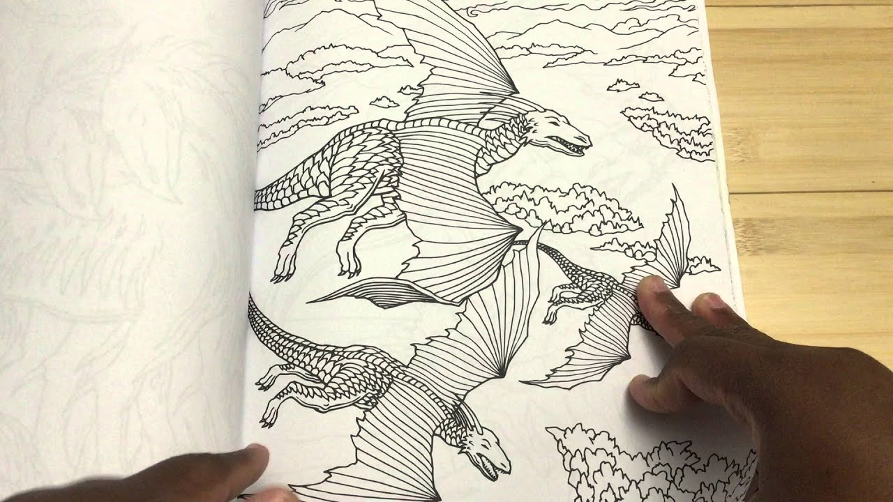 Review Dragon World Adult Coloring Book And FlipThrough